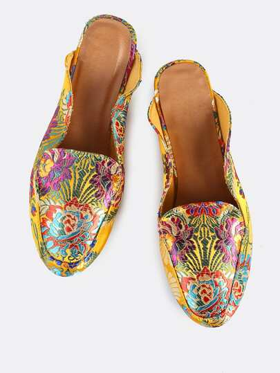 Metallic Printed Backless Loafers GOLD