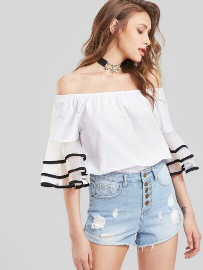 Contrast Trim Tiered Flute Sleeve Bardot Top