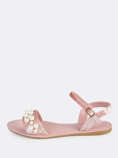 Embellished Pearl Velvet Sandals MAUVE