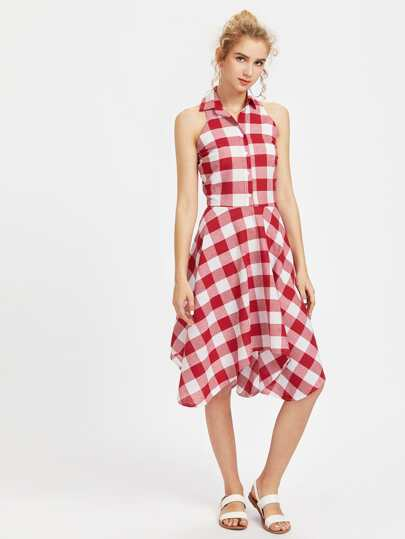 Checkered Hanky Hem Shirt Dress