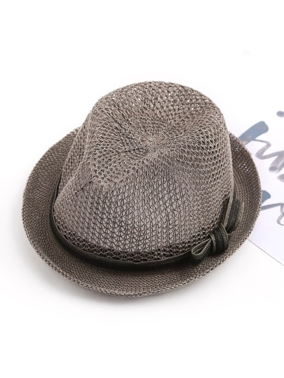 Bow Tie Band Fedora Straw Hat