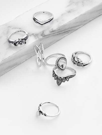 7 piezas de anillo con diseño de flor hueca