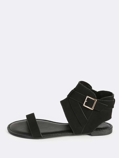 Open Toe Hooded Sandal BLACK