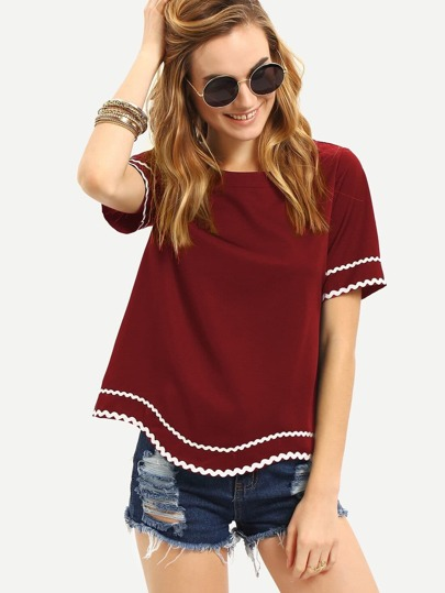 Wave Lace Trim Curved Hem Top