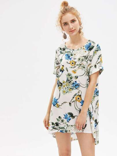 Botanical Print Shift Dip Hem Dress