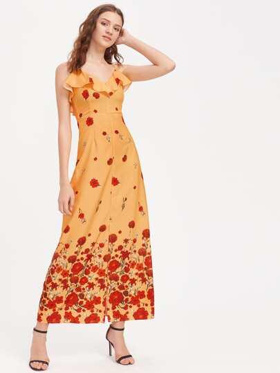 Robe découpée imprimée fleuri avec des plis