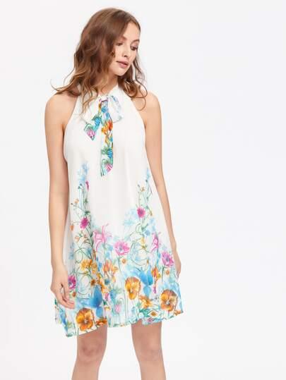 Tie Neck Botanical Dress