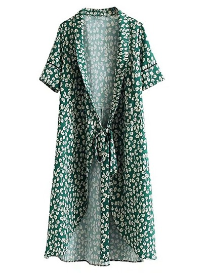 Open Front Longline Kimono With Self Tie