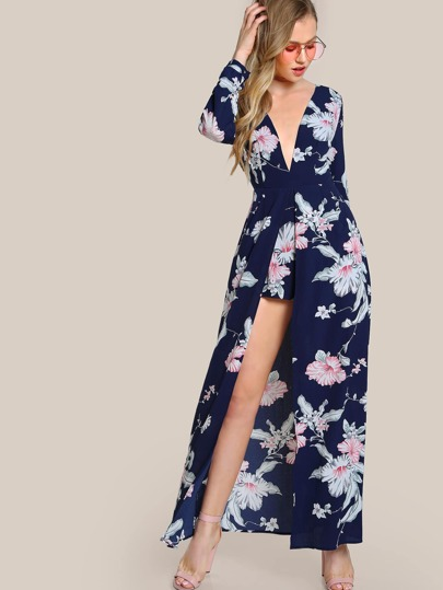 Floral Print Romper Dress NAVY