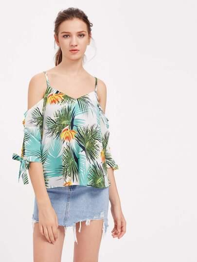 Random Palm Leaf Print Tie Cuff Top
