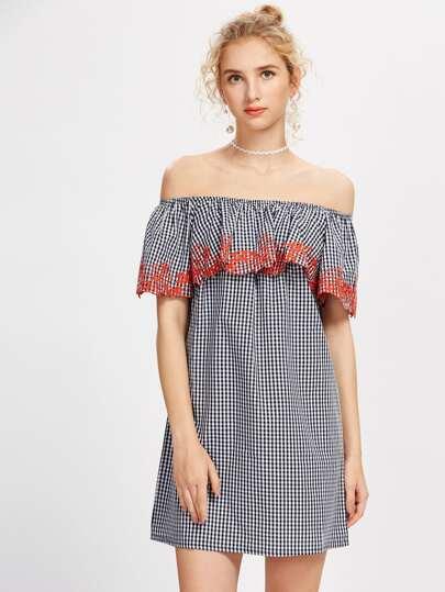 Boat Neckline Embroidered Gingham Dress