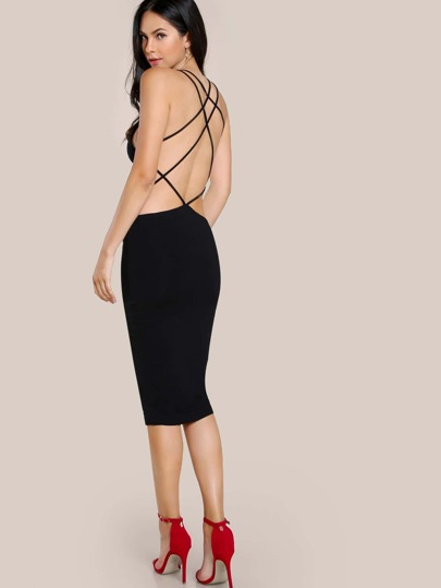 Strappy Bodycon Dress BLACK