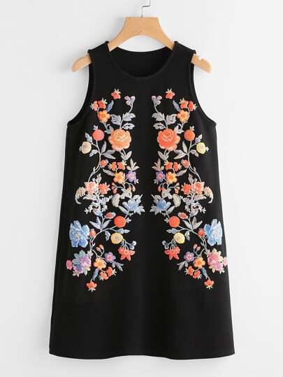Symmetric Flower Print Sleeveless Dress