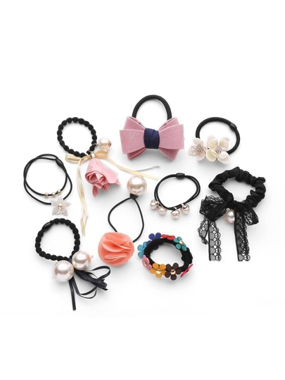 Faux Pearl & Flower Hair Tie 9pcs