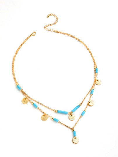 Sequin And Turquoise Detail Layered Necklace
