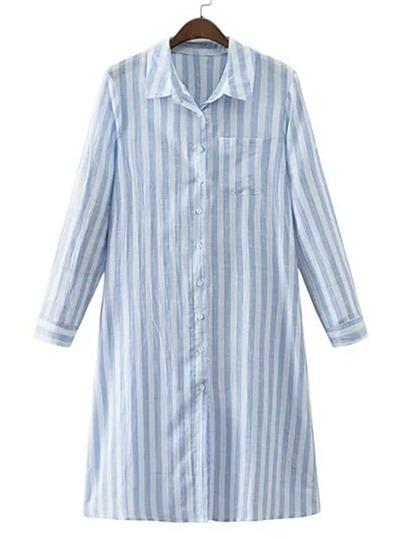 Vertical Striped Pocket Shirt Dress