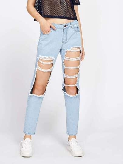 Light Wash Destroyed Jeans