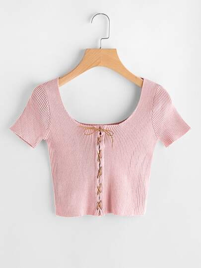 Double U Ribbed Lace Up Crop Tee