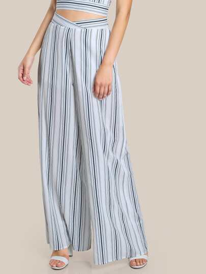 Striped Blue High Rise Pants BLUE COMBO