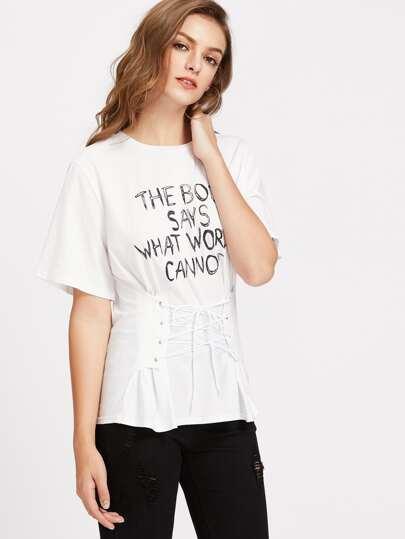 Camiseta con corsé con cordón con estampado de lema