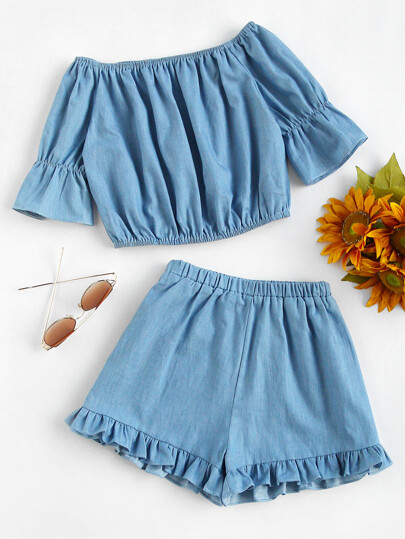 Bardot Crop Top With Frill Hem Shorts