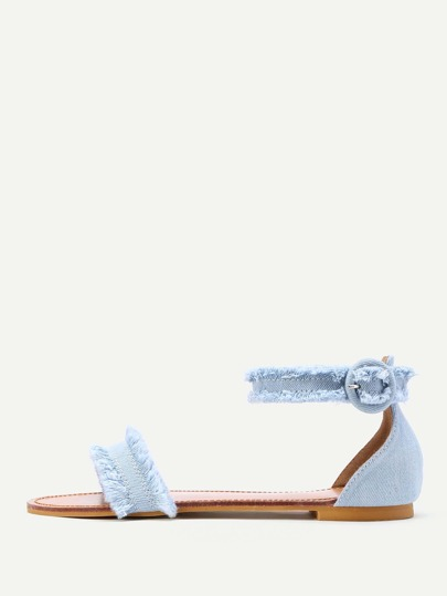 Raw Trim Denim Flat Sandals