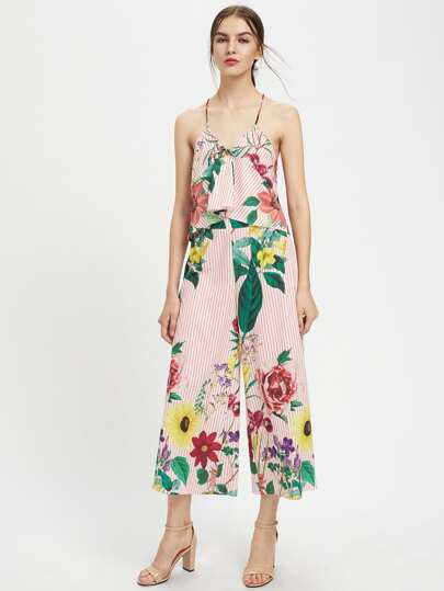 Flower Print Two Way Cami Top With Pants