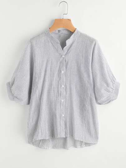 Vertical Pinstriped Lantern Sleeve Dip Hem Blouse