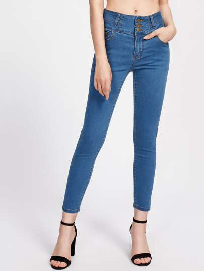 Buttoned Wide Waistband Jeans