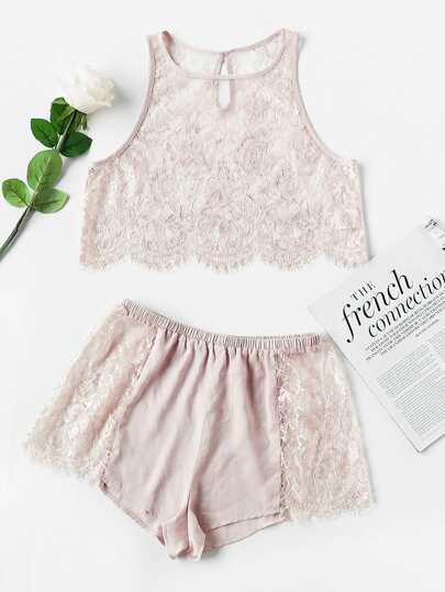 Keyhole Scallop Hem Lace Crop Tank & Shorts Pajama Set