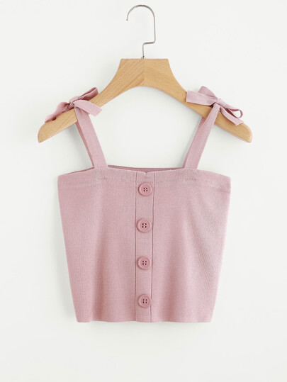 Bow Tie Strap Jersey Top