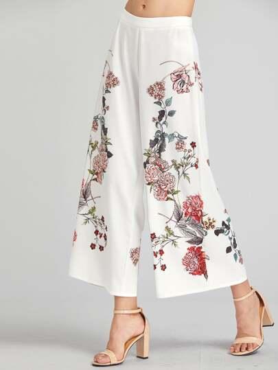 Модные широкие брюки с принтом