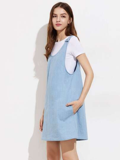 Buttoned Strap Chambray Pinafore Dress