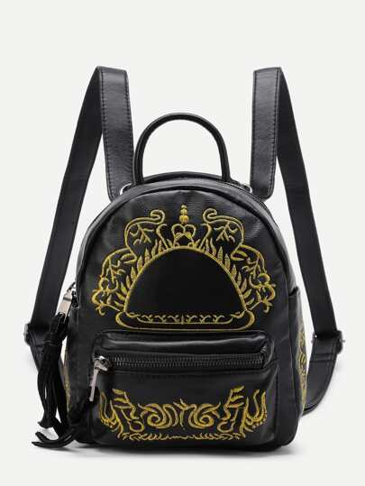 Embroidery Detail Pocket Front PU Backpack