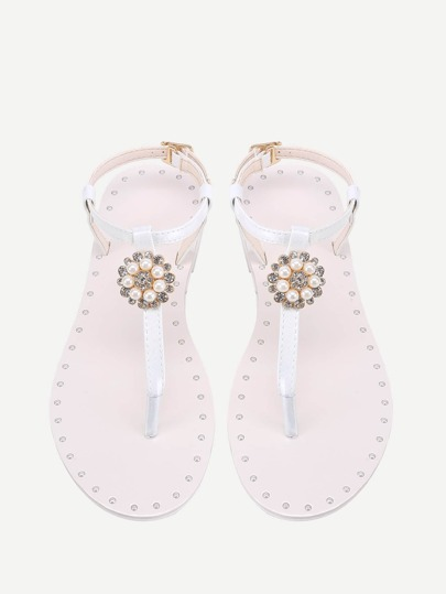 Faux Pearl And Rhinestone Detail Flat Sandals