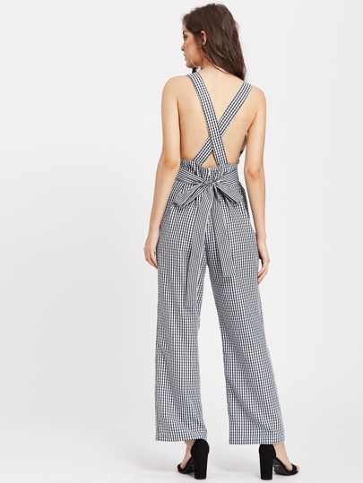 Self Tie Crisscross Back Checkered Pinafore Jumpsuit