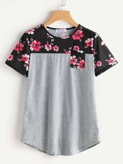 Contrast Marled Knit Random Florals Tee