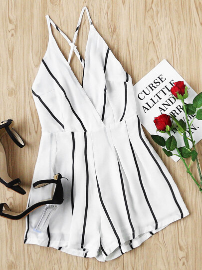 Stripe Criss Cross Open Back Romper