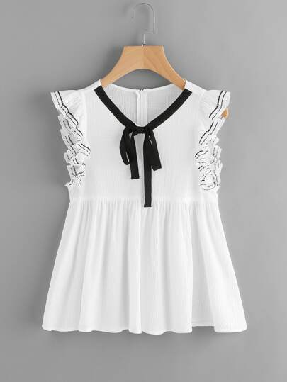 Contrast Bow Front Embroidered Flutter Sleeve Smock Top