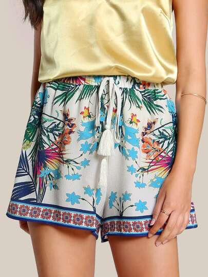 Tropical Print Tassel Shorts IVORY