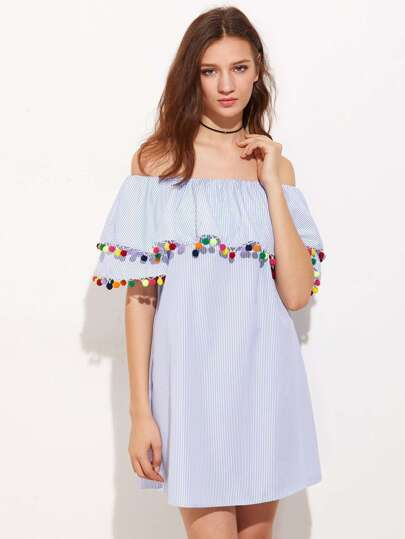 Pom Pom Trim Pinstripe Frill Bradot Dress