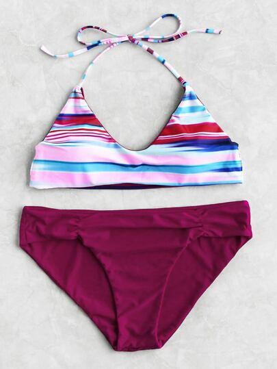 Block Striped Mix & Match Bikini Set