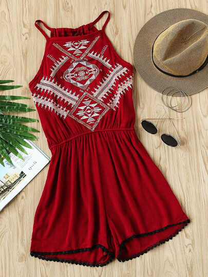 Aztec Embroidered Lace Hem Tie Back Pleated Romper