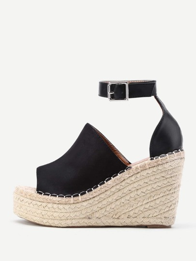 Open Toe Ankle Strap Woven Wedges