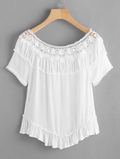 Crochet Panel Frill Hem Blouse