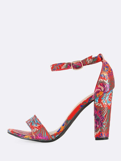 Embroidered Oriental Ankle Strap Heels RED