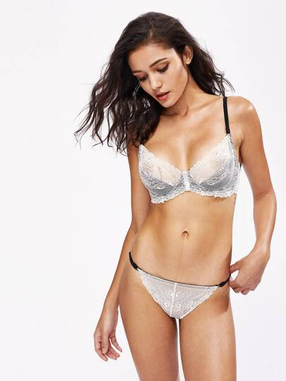 Contrast Lace Overlay Scallop Trim Underwire Set