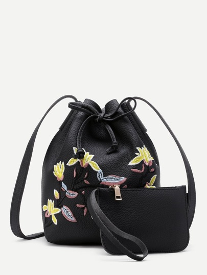 Flower Embroidery Drawstring Bucket Bag With Clutch
