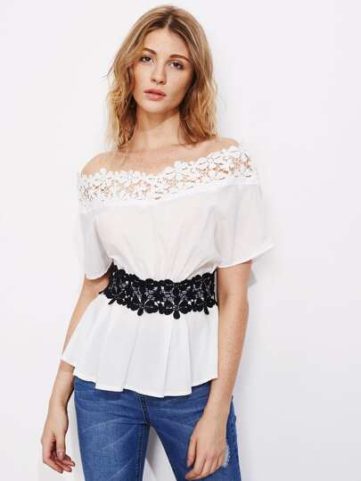 Hollow Out Crochet Trim Bardot Top With Lace Obi
