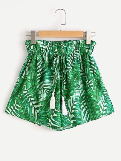Palm Leaf Print Tassel Tie Shorts
